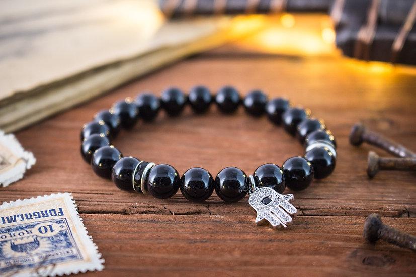 Black onyx beaded stretchy bracelet with silver Hamsa hand