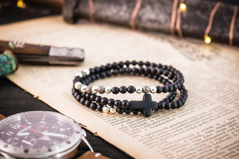 Black onyx beaded stretchy bracelets with sterling silver accents