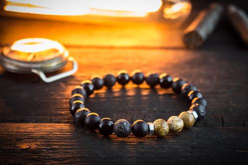 Black Onyx Lava Stone Jasper Beaded Stretchy Bracelet With Nuts
