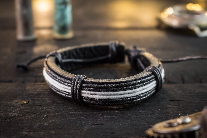 Genuine leather and black & white waxed cord bracelet for men