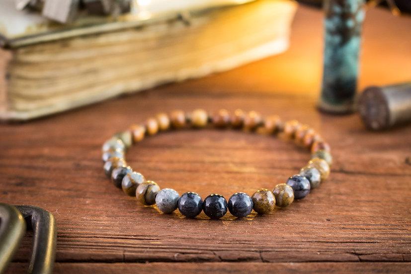 Picasso stone & sandalwood beaded stretchy bracelet