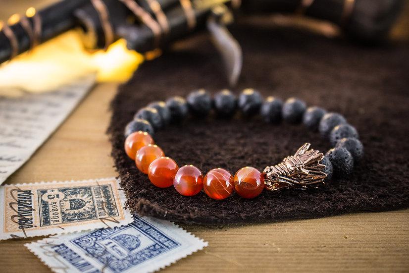 Lava stone & orange agate beaded stretchy bracelet with rose gold Dragon