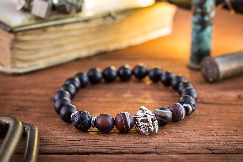 Matte black onyx & dream agate beaded stretchy bracelet with silver helmet