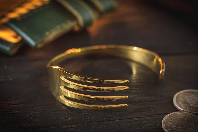 Golden stainless steel Fork shaped men's bangle bracelet