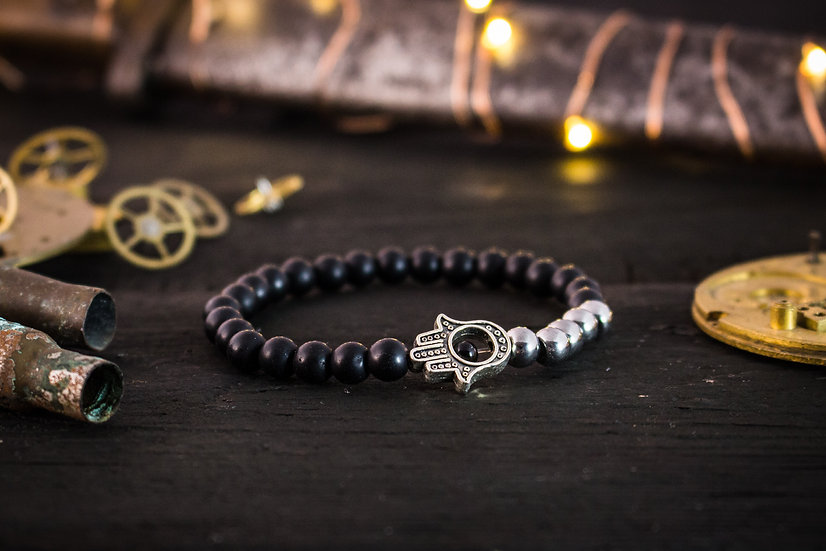 Matte black onyx beaded bracelet with silver hamsa hand