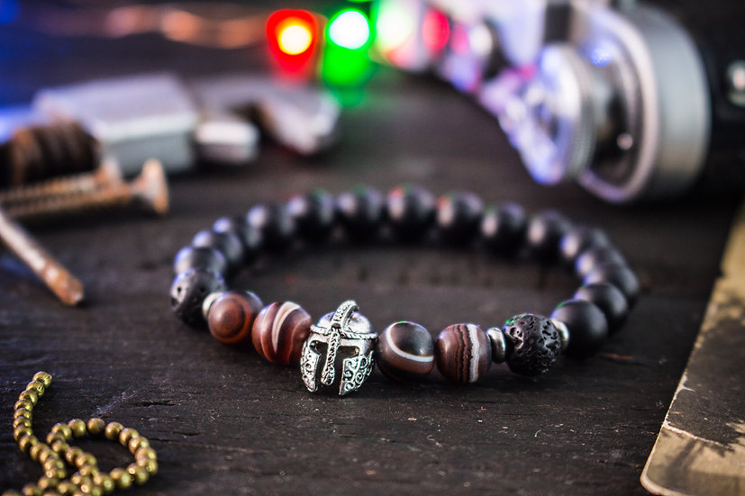 Matte black onyx & dream agate beaded stretchy bracelet with spartan helmet
