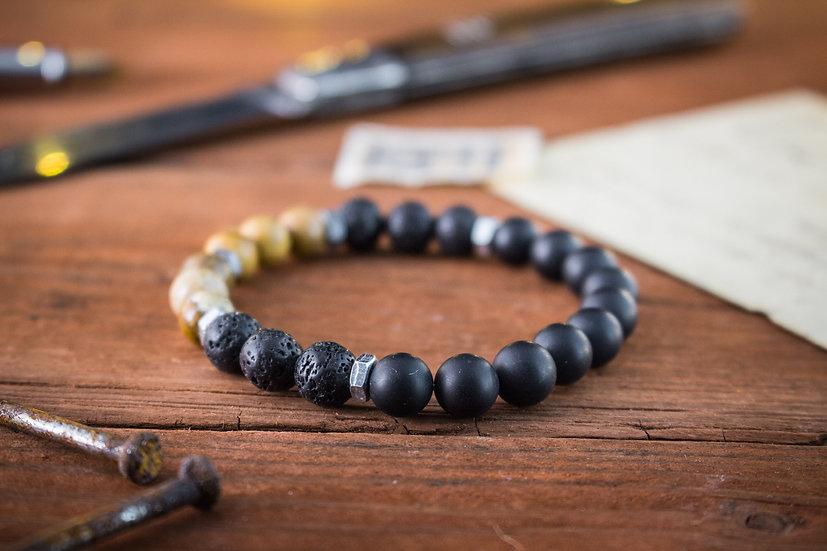 Matte black onyx, jasper & lava stone beaded stretchy bracelet