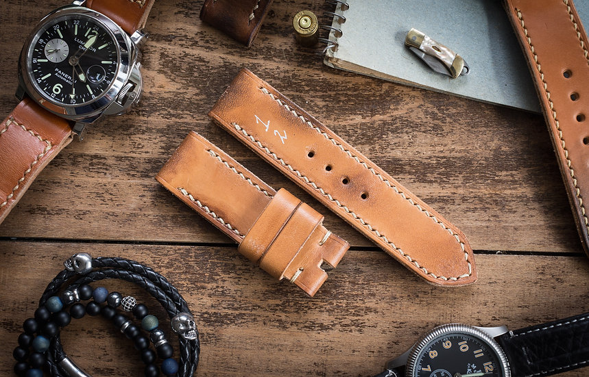 Antiqued handmade 24mm light tan leather strap 125/78mm