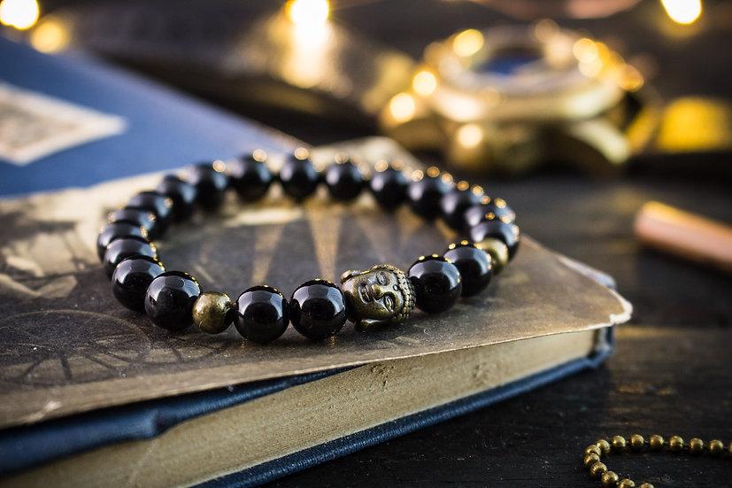 Black onyx beaded stretchy bracelet with bronze Buddha
