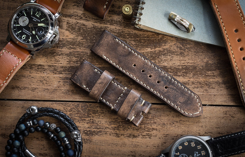 Handmade rustic 24mm gray leather strap 123/80mm