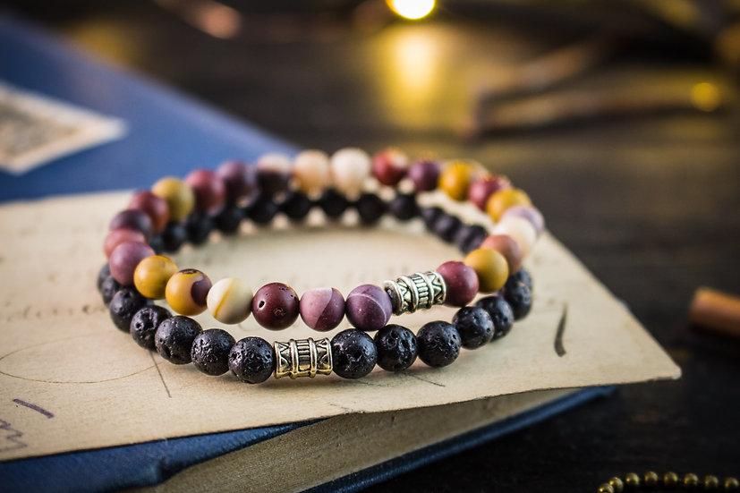 Lava stone & mookaite beaded stretchy bracelets