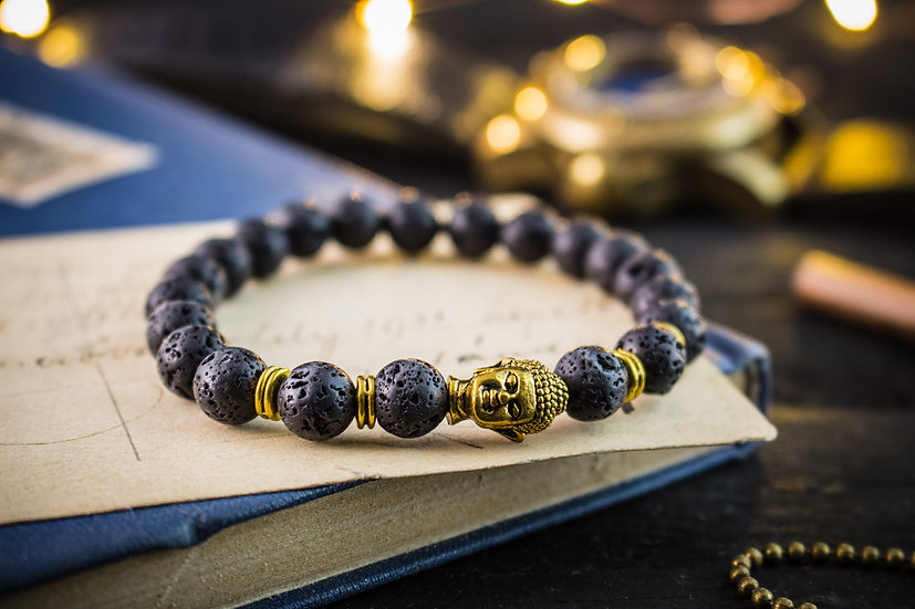Lava stone beaded stretchy bracelet with gold Buddha