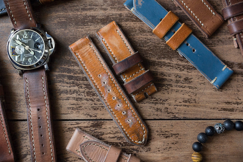 Heavily antiqued handmade 24mm oiled, amber leather strap 130/86mm
