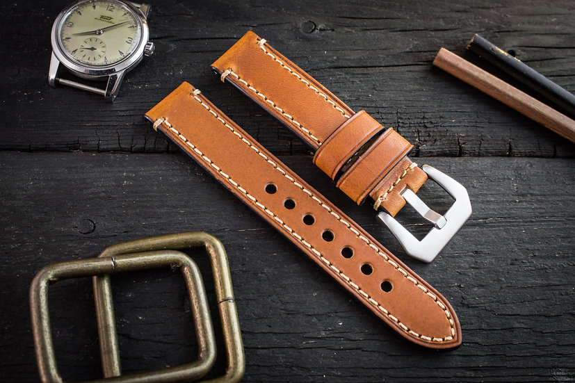 22mm Brown genuine leather watch strap