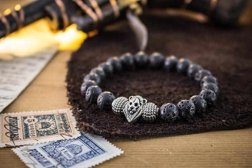 Silver Lion bracelet with black lava stone