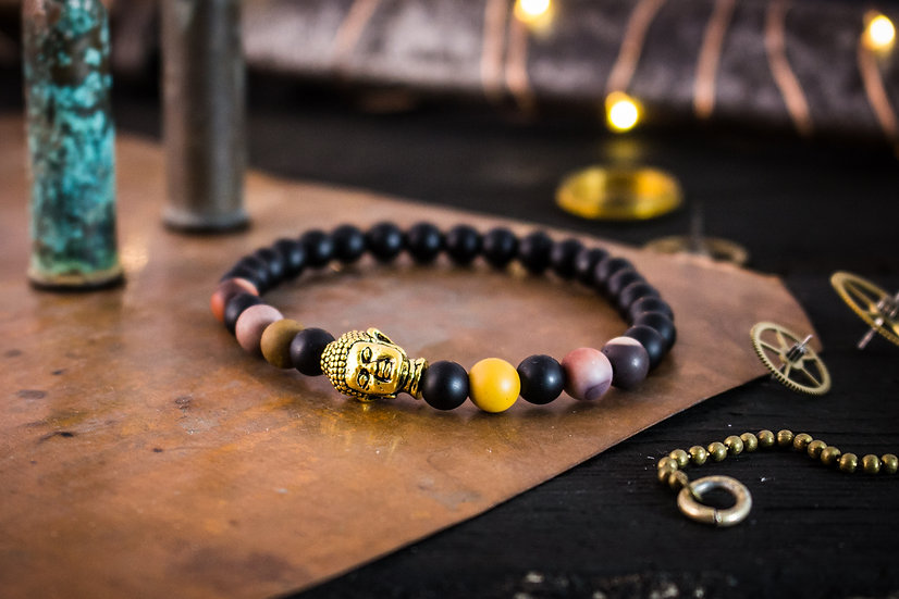 Matte black onyx and frosted mookaite beaded stretchy bracelet with gold Buddha