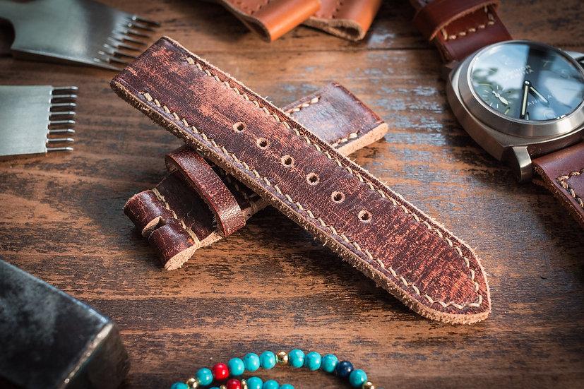 Antiqued handmade 24mm dark brown leather strap 130/85mm, for Panerai, for Maranez