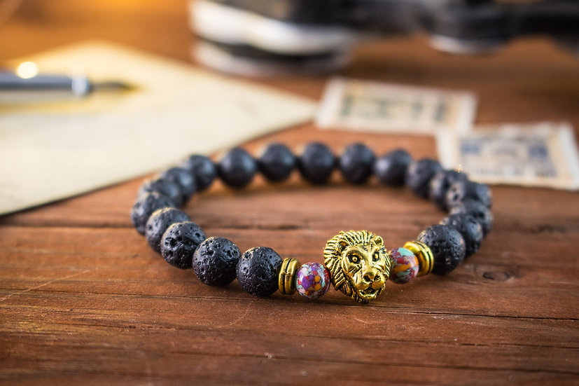 Black lava stone beaded stretchy bracelet with gold Lion