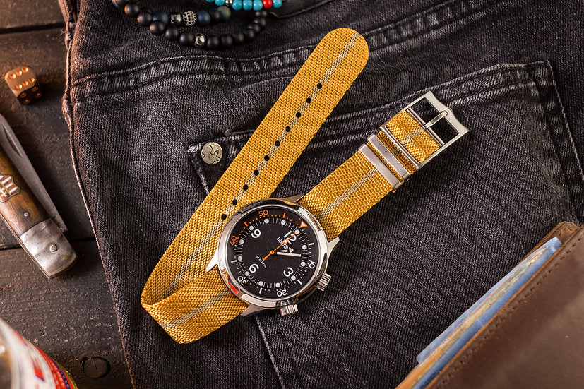 20mm Golden Yellow Woven Fabric Adjustable Single Pass Nato Watch Strap