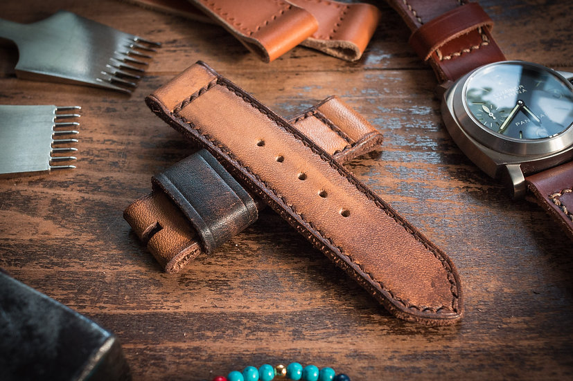 Handmade 24mm antiqued orangish light brown leather strap 125/85mm