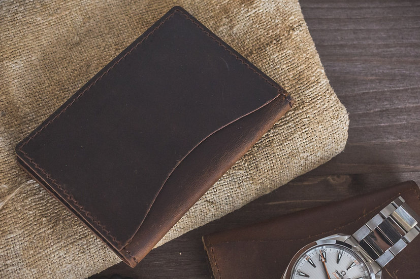 Dark Brown Genuine Rustic Crazy Horse Leather ID and Credit Card Holder & Wallet