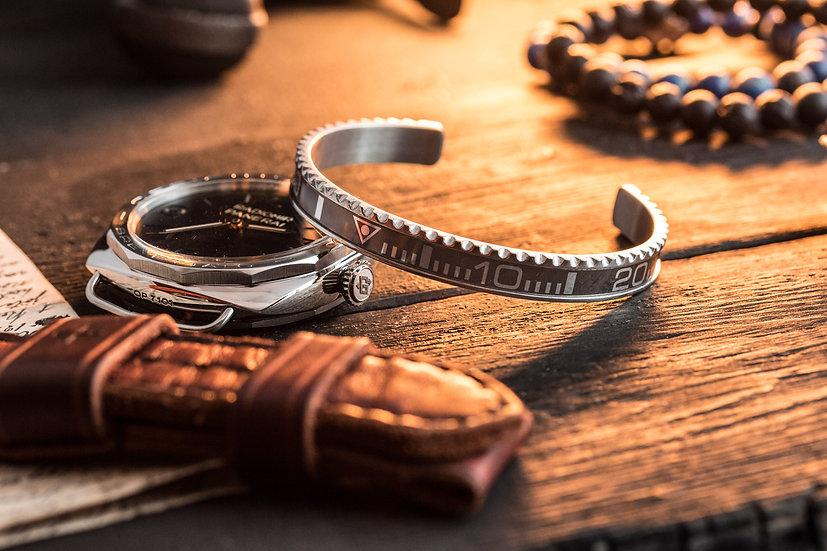 Faded Black submariner bezel stainless steel cuff bangle men's bracelet