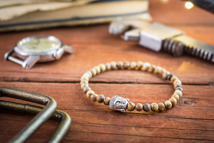 Jasper stone beaded stretchy bracelet with silver Buddha