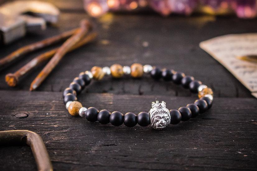 Matte black onyx & jasper beaded stretchy bracelet with sterling silver Lion