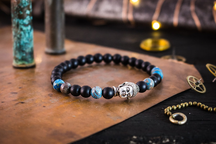 Matte black onyx and blue crazy lace agate beaded bracelet with silver Buddha