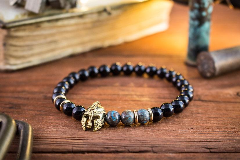 Black onyx & blue agate beaded stretchy bracelet with gold spartan helmet