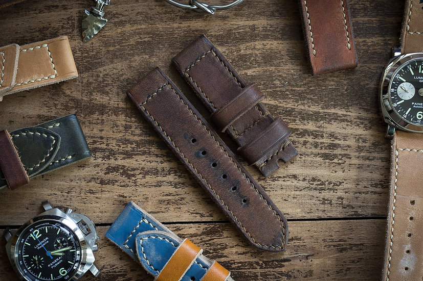 Antiqued handmade 24mm oiled, dark brown leather strap 125/85mm
