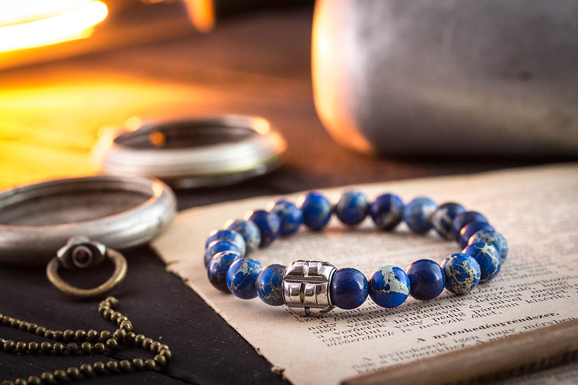 Blue regalite beaded stretchy bracelet with stainless steel end bead