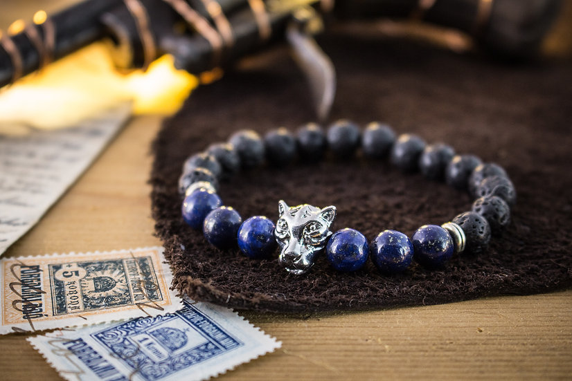 Lava stone & lapis lazuli beaded stretchy bracelet with silver leopard