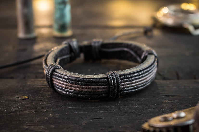 Genuine leather and black & brown waxed cord men's bracelet