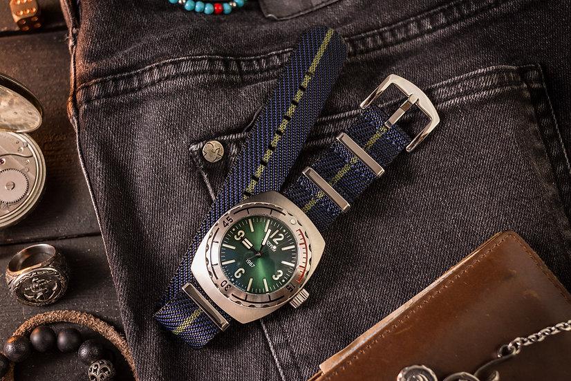 22mm Dark Blue & Olive Green Woven Fabric Nato Strap