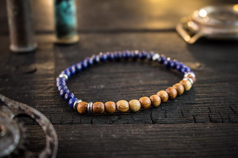 Lapis lazuli & sandalwood beaded stretchy bracelet