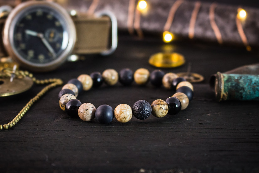 Brown jasper, onyx & lava stone beaded stretchy bracelet