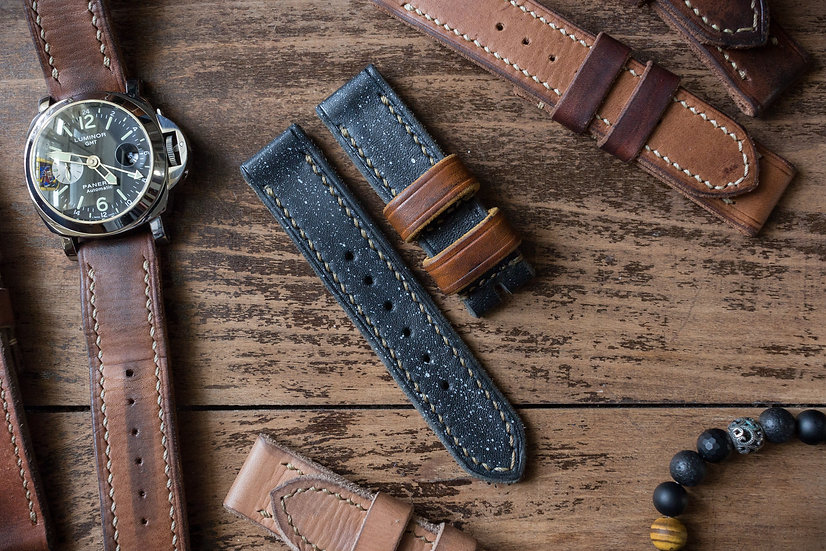 Handmade 22mm antiqued dark blue oiled leather strap 125/83mm