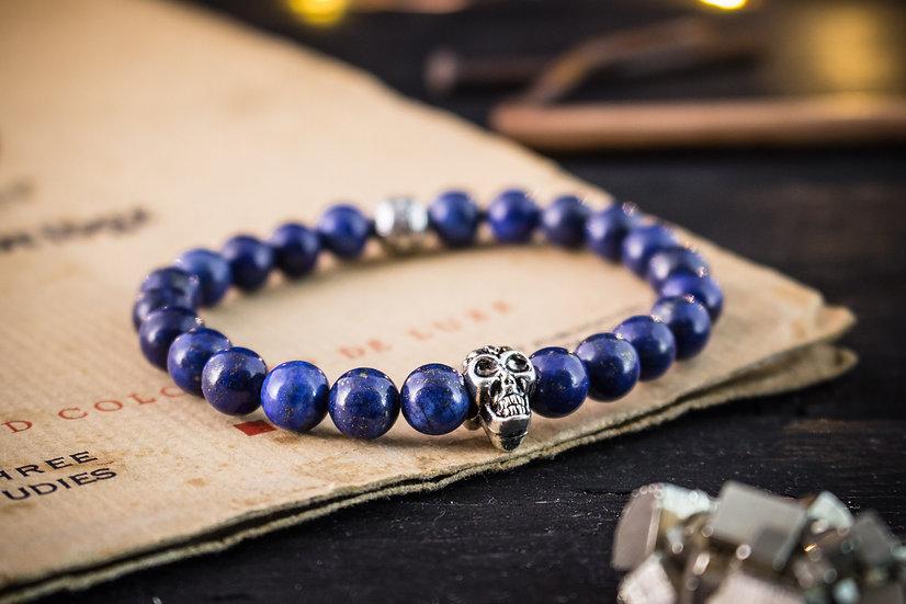 Lapis lazuli beaded stretchy bracelet with silver skull for men