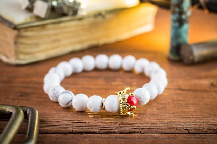 The White King - gold crown bracelet  White howlite & red coral beaded stretchy bracelet