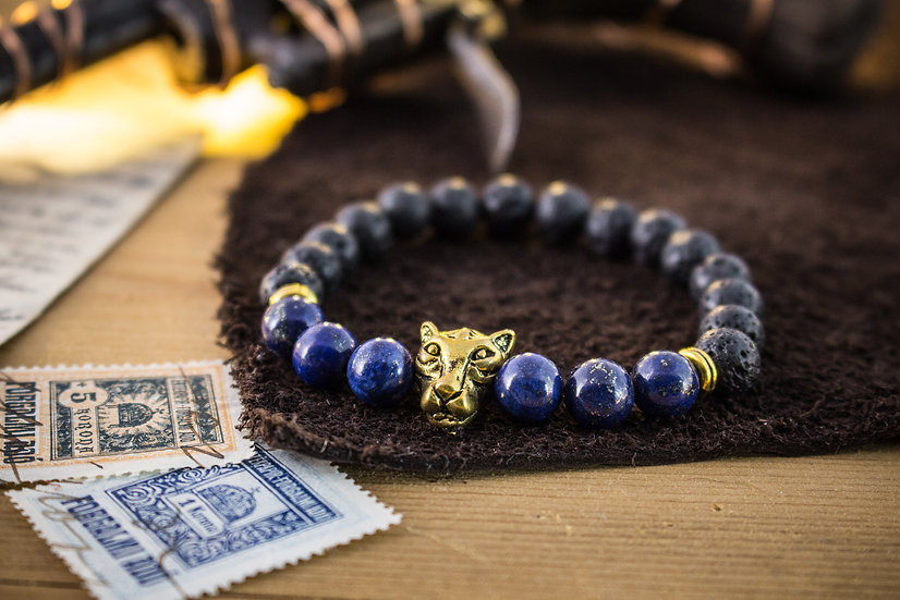 Gold Leopard beaded bracelet with black lava stone & lapis lazuli