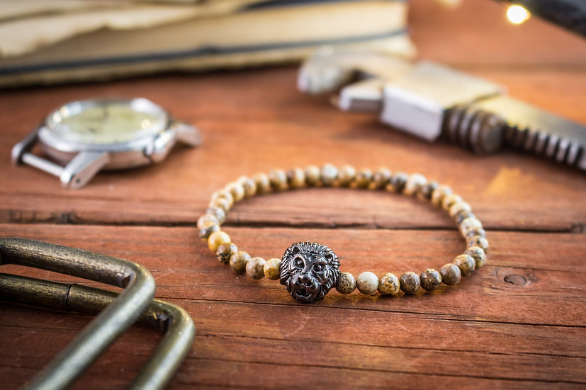 Jasper stone beaded stretchy bracelet with gunmetal lion