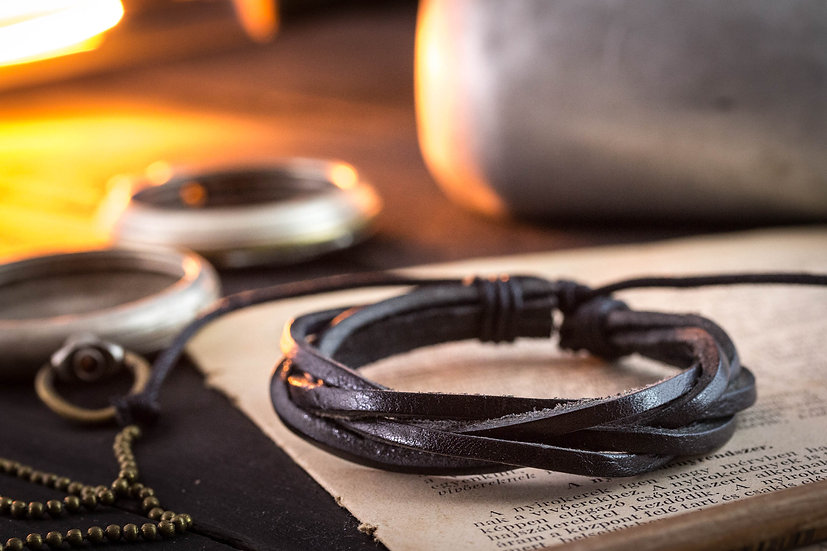 Black genuine leather and waxed cord bracelet