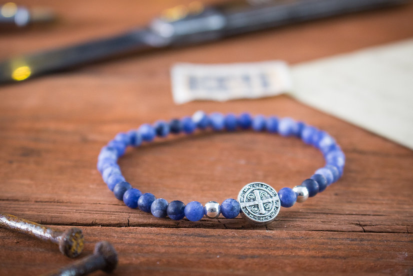 Matte Sodalite beaded stretchy bracelet with sterling silver beads