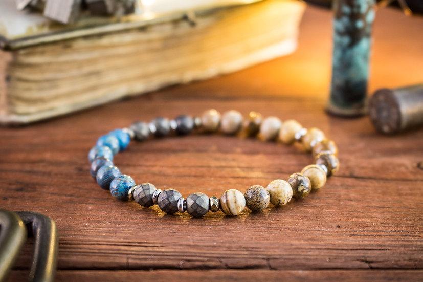 Blue crazy lace agate, jasper stone & hematite beaded stretchy bracelet
