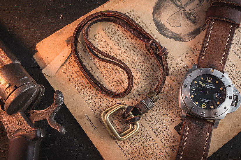 Brown genuine leather men's necklace with brass rectangle pendants and rings