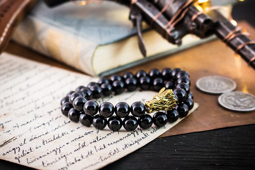 Double wrap black onyx beaded stretchy bracelet with gold dragon