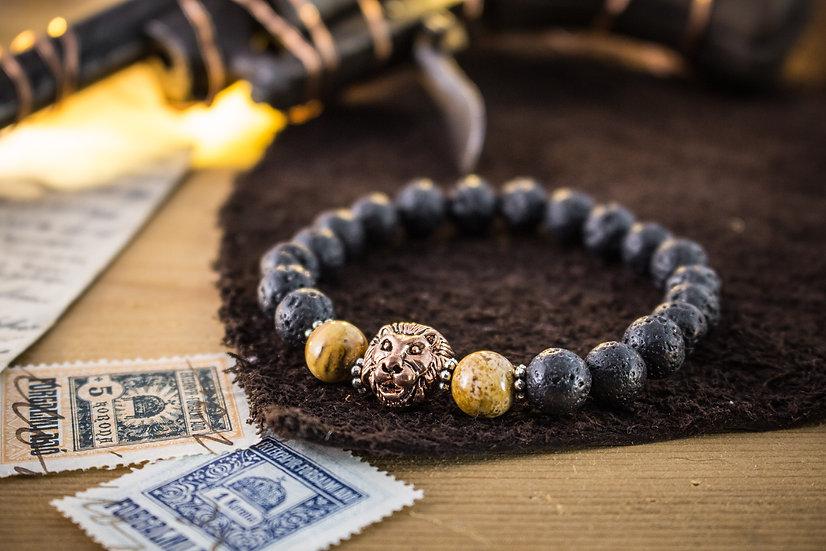 Lava stone & jasper beaded stretchy bracelet with rose gold Lion