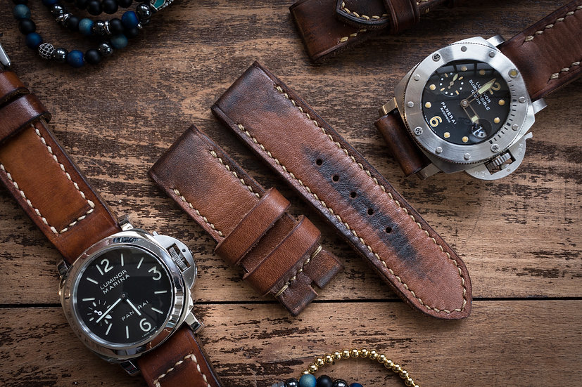 Handmade 26mm oiled and antiqued dark brown leather strap 125/80mm