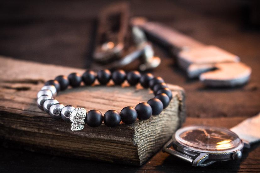 Black onyx beaded stretchy bracelet with silver skull